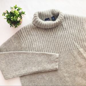 GAP Gray Oversized Turtleneck Chunky Wool Sweater